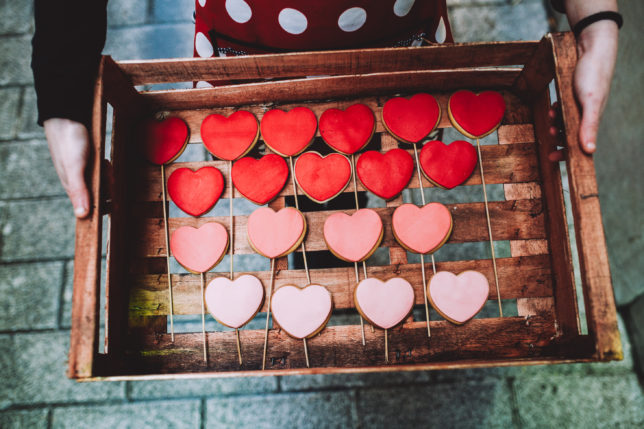 A box with heart cookies in it