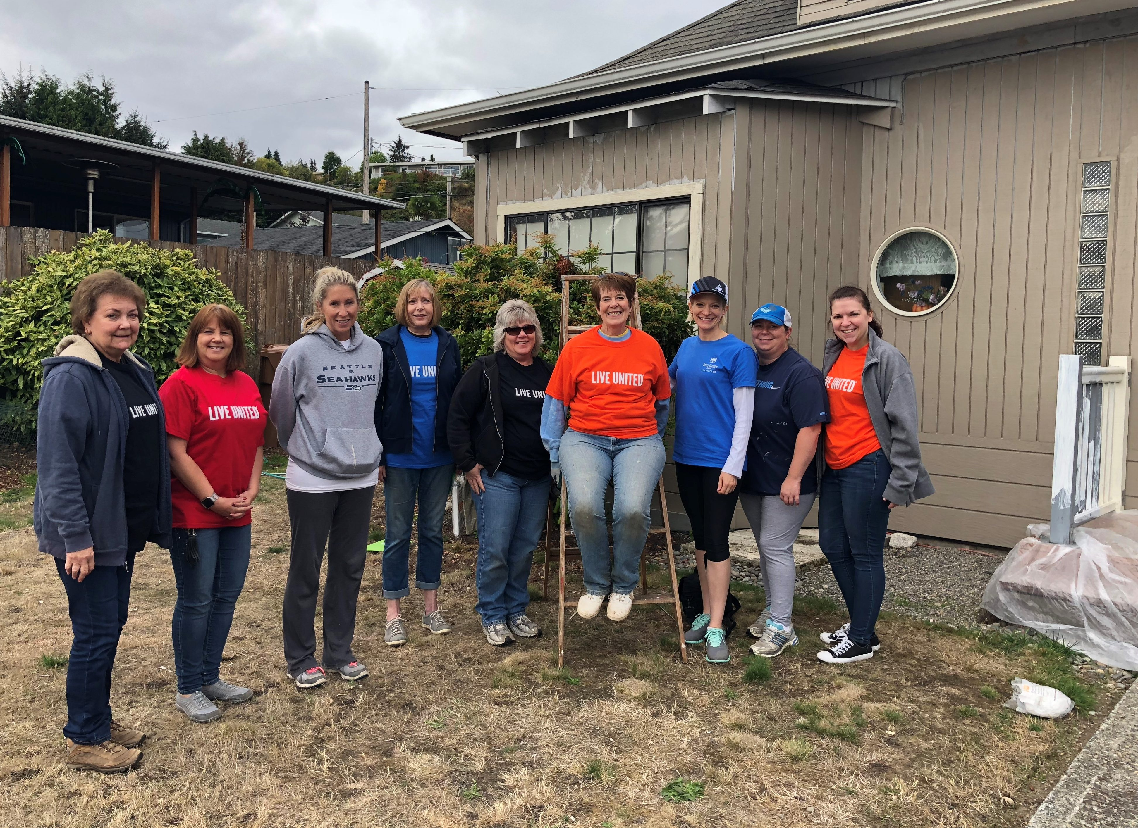 Group photo of Heritage Bank employees at the United Way Day of Caring in Pierce County