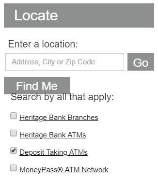 Screenshot of locator search function on Heritage Bank's website at www.HeritageBankNW.com
